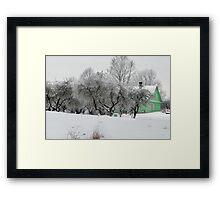 Green House in winter time Framed Print