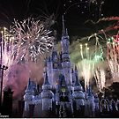 Cinderella's Castle Christmas Time durring Fireworks  by Chris Bastow