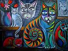 Neon Cats in Acrylics by Karin Zeller