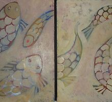 Fantasy fish , Diptych by Redviolin