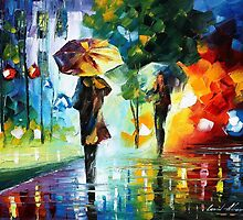 Under The Rain - original oil painting on canvas by Leonid Afremov by Leonid  Afremov