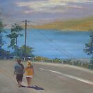 Strolling along, Lyttelton Hbr, New Zealand by Tash  Luedi Art