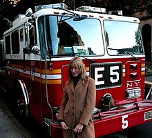 NYFD truck and girl by bertipictures