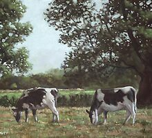 Two Cows in field at Throop by martyee