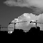 Triple cranes against the sky by robigeehk