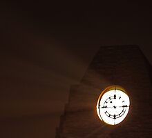 Clock Tower on a Foggy Night by Lisa Holmgreen