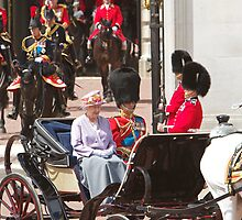 The Queen with Prince Phillip & Princess Anne by Keith Larby