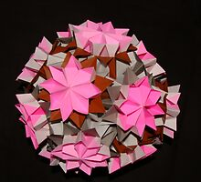 Pink Grey Brown Kusudama by CranBerryOcean