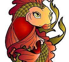 Red and Green Koi Fish by Lugh  Damen