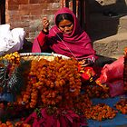 Maker of Marigold Garlands-Nepal by Breanna Stewart