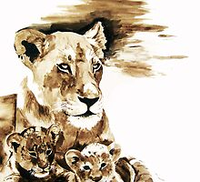Lioness with cubs by Elsa Dyason