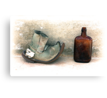 The Old Boot And An Empty Bottle Canvas Print
