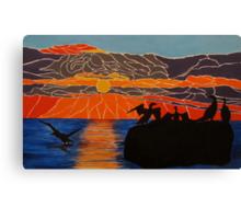 Cormorants basking in the sunrise Canvas Print