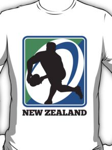 New zealand rugby player passing ball T-Shirt