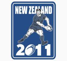 rugby player passing ball New Zealand 2011 by patrimonio