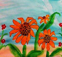 3 daiseys  and tiny red flowers  in watercolor by Anna  Lewis
