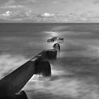 ROSSALL GROYNE B&W by Phil  WEBB