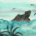 Dog Mountain Poking thru Clouds, watercolor by Anna  Lewis