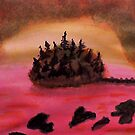Island of Pine Trees in sunset on Pink Ocean, watercolor by Anna  Lewis