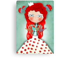 Red hair mushroom doll and company Canvas Print