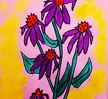 Lavender Crazy Daiseys series  with yellow backround, watercolor, and soon to be added into a Calender by Anna  Lewis