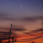 Crescent moon at morning twilight by Poete100