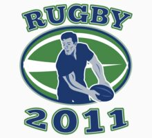 rugby player running passing ball 2011 by patrimonio