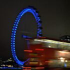 Blue Eye/Red Bus - The London Eye at Night by bwatt
