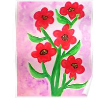 Red flowers for Valentines for my Lover, watercolor Poster