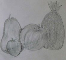 Pencil Drawing Fruit Stillife by MaeBelle