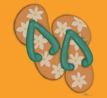'Tropical Flowers' Flip Flops on a Tee! by Cherie Balowski