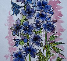 Untitled Watercolour - Flowers by Angela Gannicott
