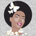 Afro Girl Surrounded By Butterflies t-shirt by Victoria Ellis