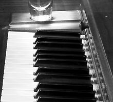 Piano Whiskey Row Black and White Print by Bo Insogna