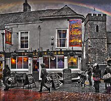 The Cricketers Pub, Canterbury on a rainy day by Geoff Carpenter
