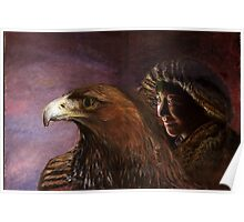 Young mongolian girl with golden eagle Poster