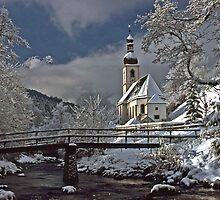 Ramsau Chapel with Snow, December 1985 #3 by David J Dionne