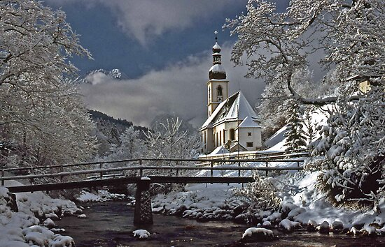 Ramsau Chapel with Snow, December 1985 #3 by David J Dionne