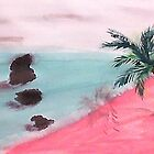 Palm Tree Series, 3 Rocks in Ocean,  watercolor by Anna  Lewis