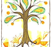 Joy Citrus Orange Paisley Tree by KimberlyGlese