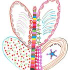Colorful butterfly with shapes by hummingbirds
