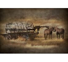 Covered Wagon. Relic of the Pioneers. Montana. USA. Photographic Print