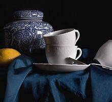 Blue & White China with Lemon by Rachel Slepekis