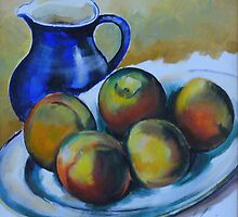 Peaches on porcelain plate by GEORGE GANCIU