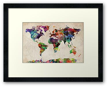World Map Urban Watercolor by ArtPrints