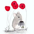 Miss Rat and Poppy Flowers by InkyDreamz