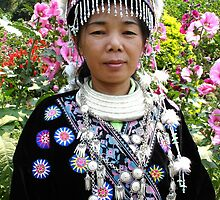 Woman in her Traditional Akha Hill Tribe Costume by Horst Dammer