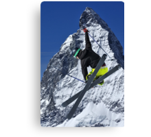 ski jumper and Matterhorn Canvas Print