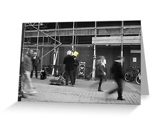 Yellow hat in a black and white world Greeting Card
