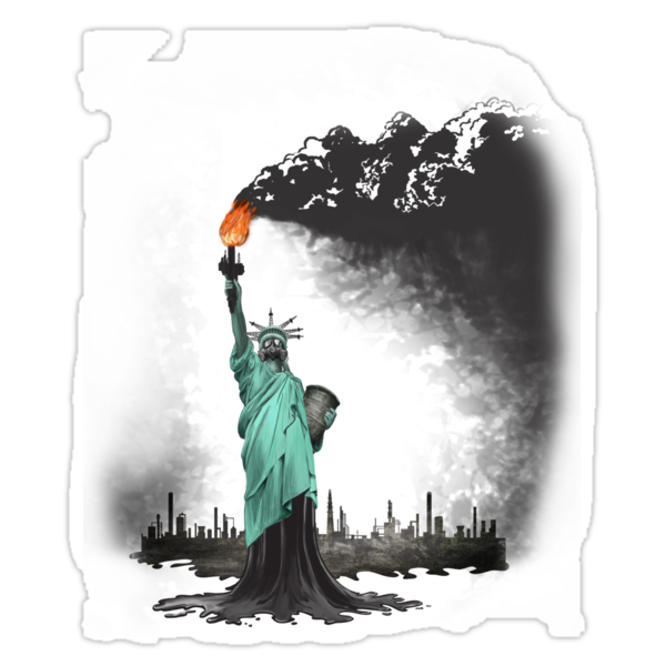 surreal rendered American liberty statue illustration: LIBERTY OIL by SFDesignstudio